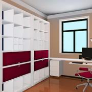 简约现代风格小书房书柜装修效果图
