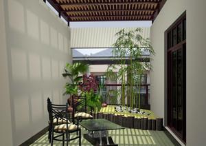 2016新中式复式楼入户花园装修效果图
