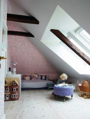 小户型欧式风格斜顶阁楼室内装修效果图实例