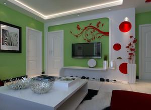 清新有朝气的小户型客厅影视墙效果图
