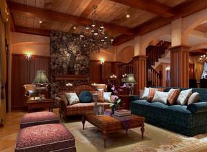 别墅型美式家庭室内客厅背景墙装修效果图