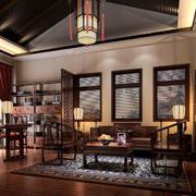 复式楼中式书房装修图