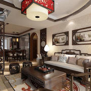 100平米老年公寓中式古典客厅装修图