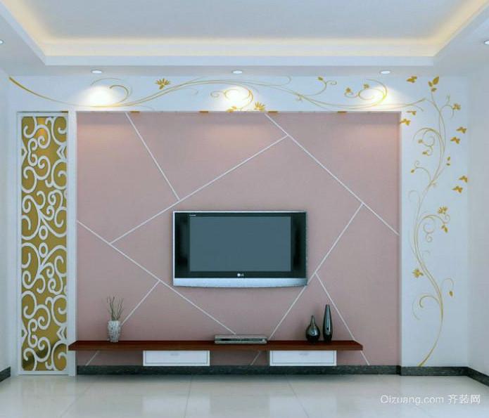 欧式大户型现代硅藻泥电视墙背景墙装修效果图