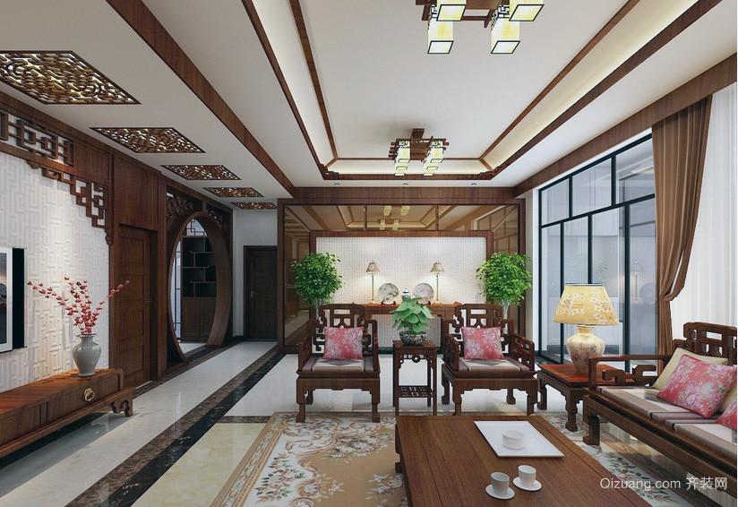 华丽大方的大户型中式客厅室内装修效果图