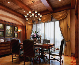 大户型美式装修风格样板房餐厅装修效果图