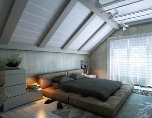 现代男士小阁楼榻榻米床装修设计图