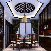 两层别墅古典中式餐厅装修效果图