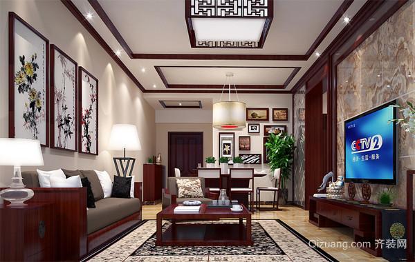 90平米大户型现代中式客厅背景墙家装效果图