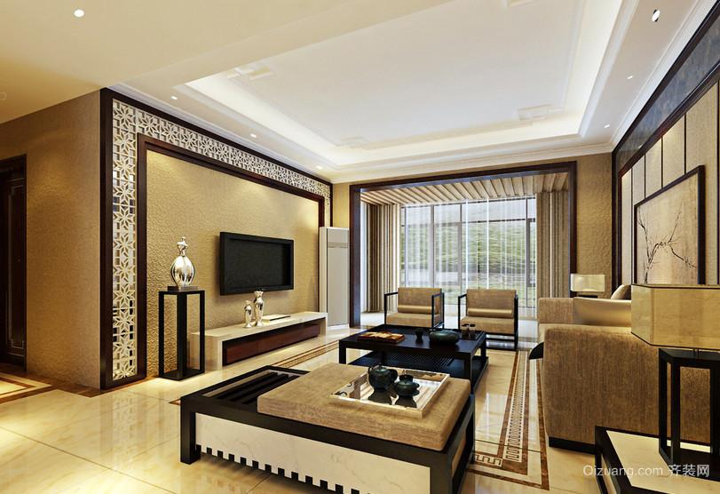 温馨黄色新中式客厅海藻泥影视墙效果图