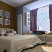 64平米小型公寓卧室飘窗现代装修图