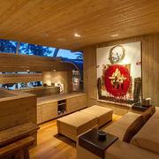 别墅温暖橙色小卧室
