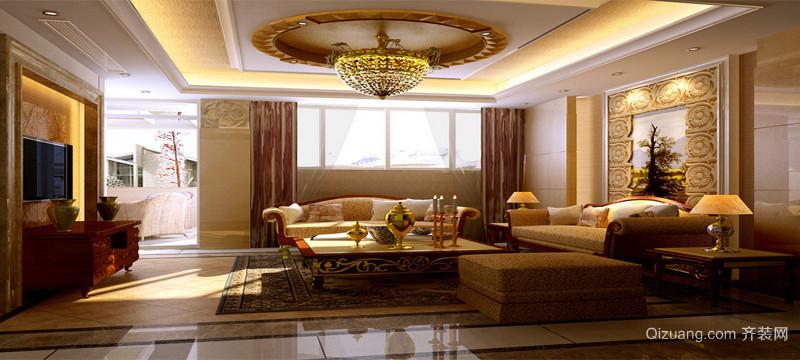 现代欧式三居室室内沙发背景墙装修效果图
