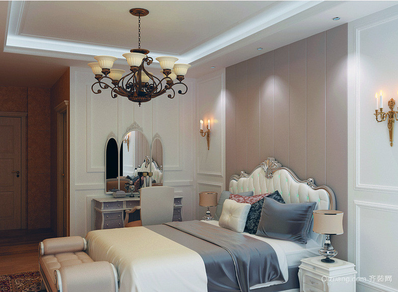 现代都市大户型欧式卧室背景墙装修效果图
