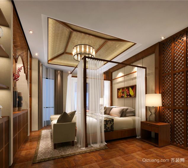 三室一厅东南亚风格卧室吊顶装修案例