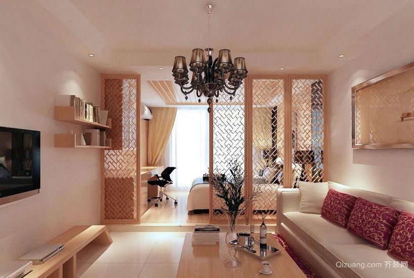 原木风现代小型一室一厅公寓隔断装修图