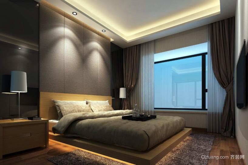 韩式都市男士卧室榻榻米床装修效果图