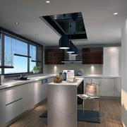 现代时尚小户型家庭开放式厨房装修效果图