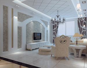 欧式风格两室一厅客厅电视背景墙装修效果图