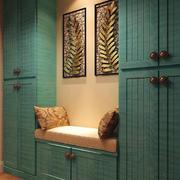 玄关绿色实木置物柜
