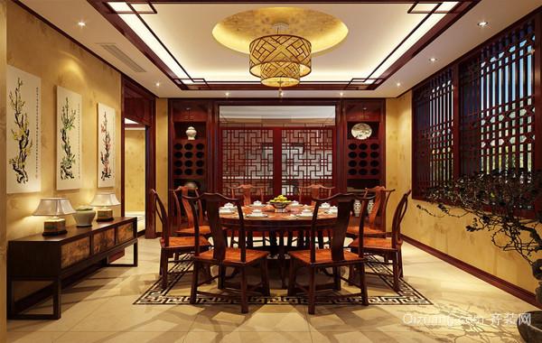 2016豪华复式楼中式餐厅装修设计效果图
