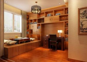 现代日式风橙色书房榻榻米装修效果图