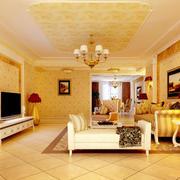 田园简欧大户型橙色客厅装修效果图欣赏