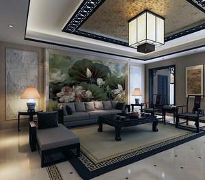 大户型现代中式家装客厅背景墙装修效果图