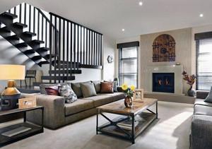 三居室复古风格客厅室内背景墙装修效果图