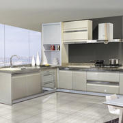 灰白色现代厨房图片