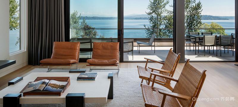 现代都市别墅型客厅落地窗装修效果图
