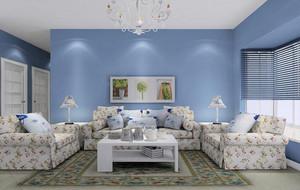 客厅浅蓝色墙面展示