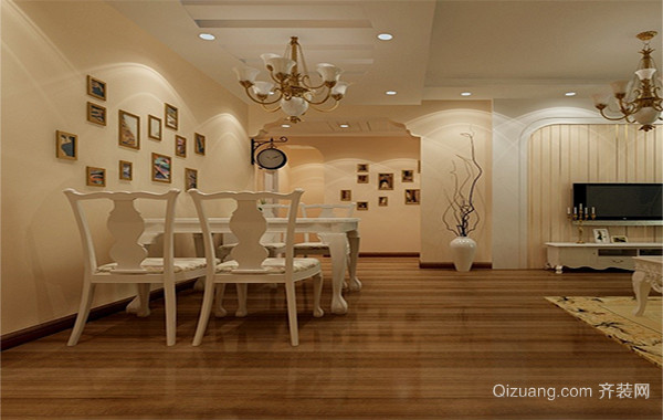 80平米欧式小户型餐厅背景墙装修效果图实例