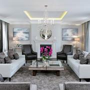 大户型冷色调后现代风格客厅装修效果图