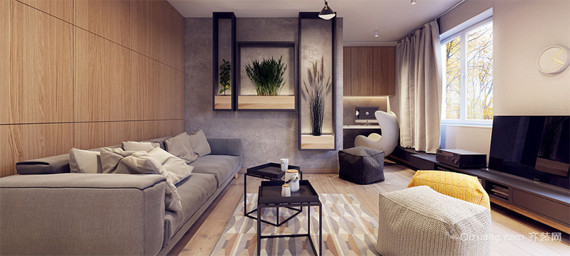 暖色调欧式大户型客厅背景墙装修效果图