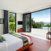 海景别墅卧室简约推拉门装修设计效果图
