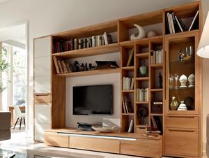 朴素自然的小客厅实木电视柜效果图