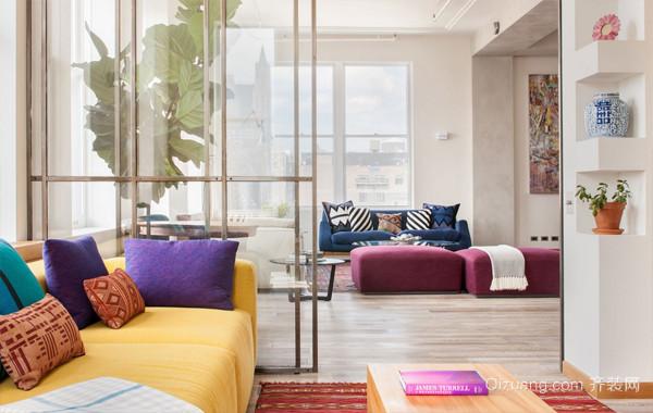 彩色张扬的88平米现代小户型家装设计图