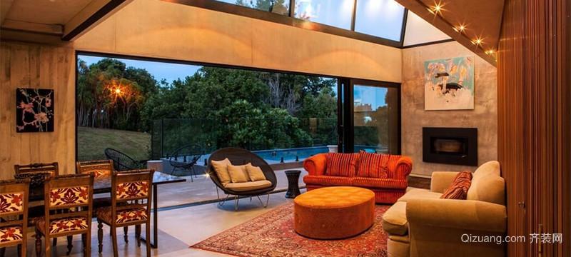 欧式温暖色调室内落地窗装修效果图实例