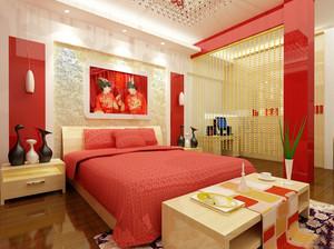 122平米现代简约风格婚房卧室装修图
