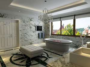 复式楼现代化浴室瓷砖贴图装修效果图