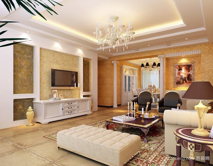 奢华大户型简欧风格客厅电视柜效果图