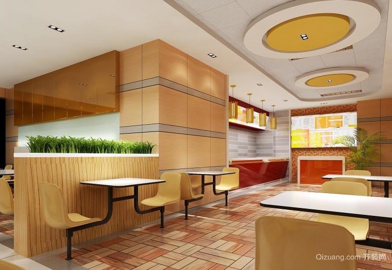大户型橙色快餐店简约装修设计图