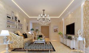 99平米两居室简欧客厅电视柜效果图