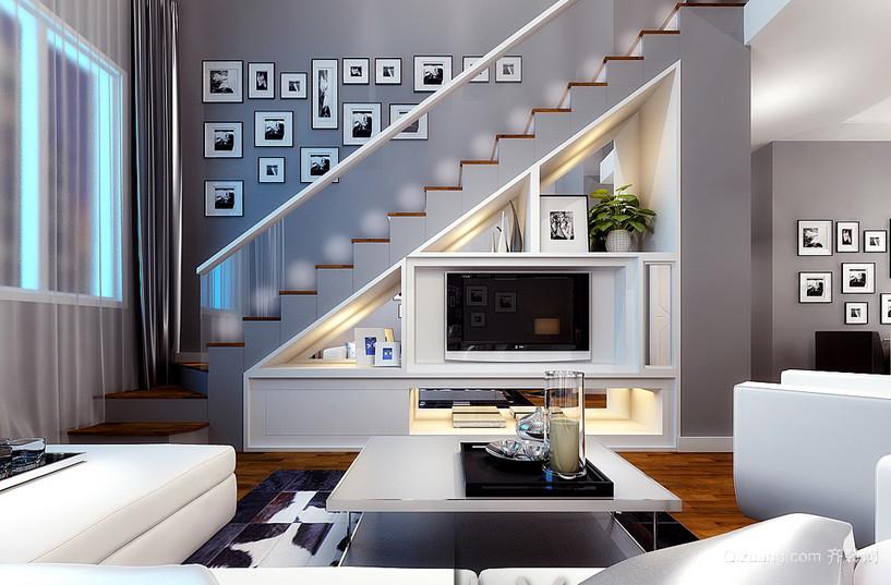 别致现代跃层小客厅楼梯电视柜效果图