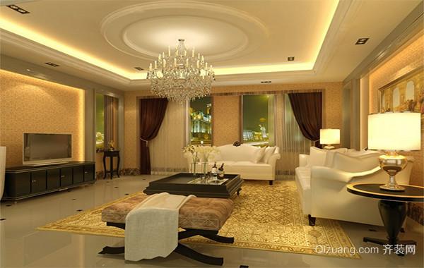 2016大户型现代客厅水晶吊灯装修效果图案例