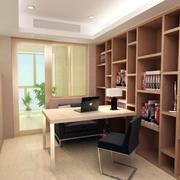 宜家浅色调小书房书柜设计效果图