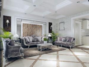 都市唯美大户型室内沙发背景墙装修效果图