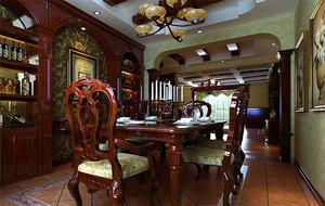美式装修风格样板房餐厅背景墙装修效果图