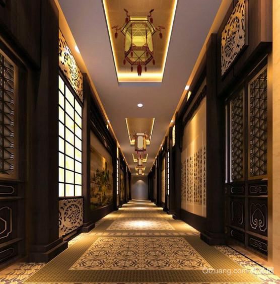 中式风大酒店走廊吊顶装修效果图
